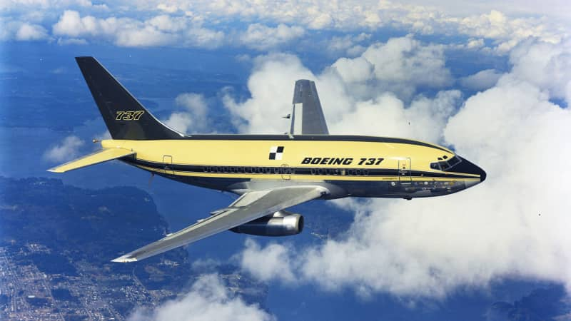 The first flight of the Boeing 737-100