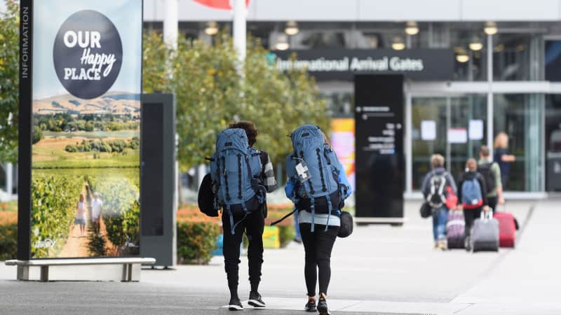 Backpackers arrive at Christchurch International Airport on April 06, 2020 in Christchurch, New Zealand.