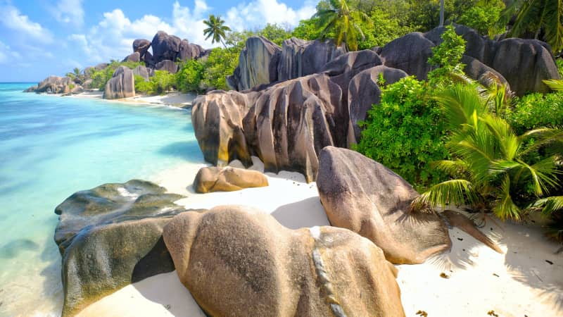 The islands of the Seychelles are a popular destination for weddings and honeymooners.