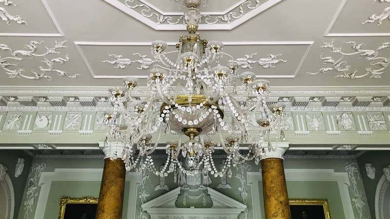 Chandelier in reception hall at Castle Ward