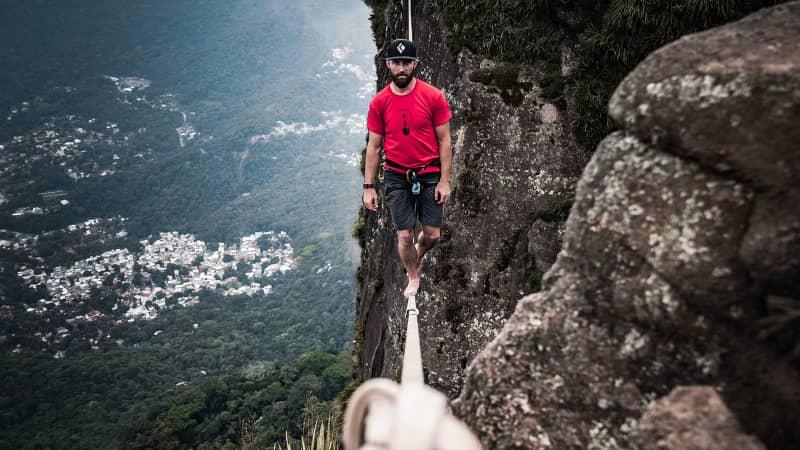 Ryan Robinson, 38, has dedicated himself to crossing vertiginous voids on slacklines.