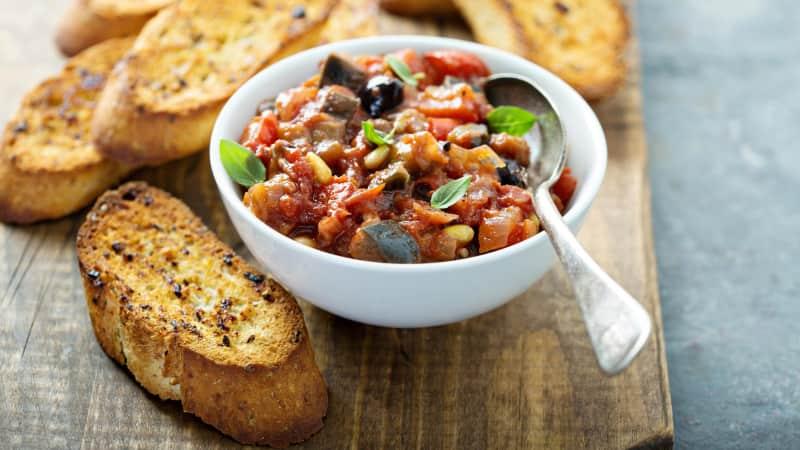 Eggplant caponata: Sweet, sweet veggies.