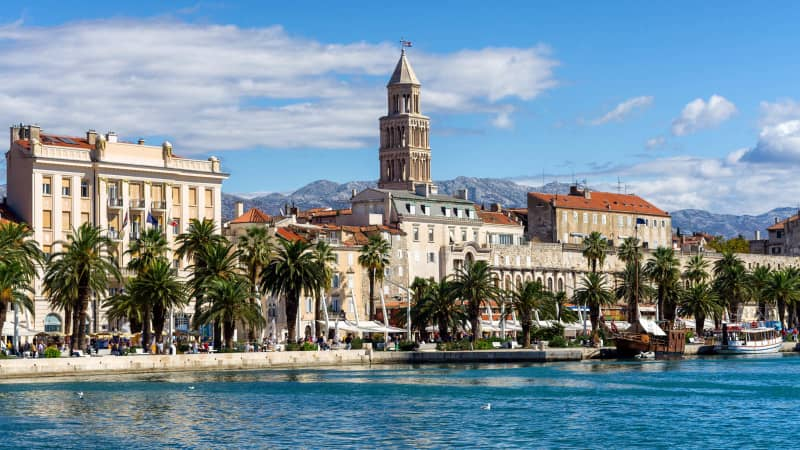 Split, on the Dalmatian coastline, is a popular destination for travelers.