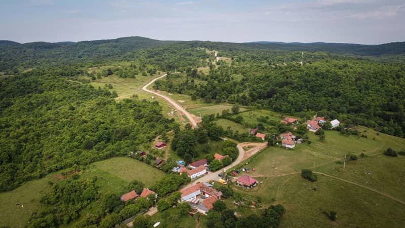 A general aerial view of Garnic village, Romania, on July 17, 2020.