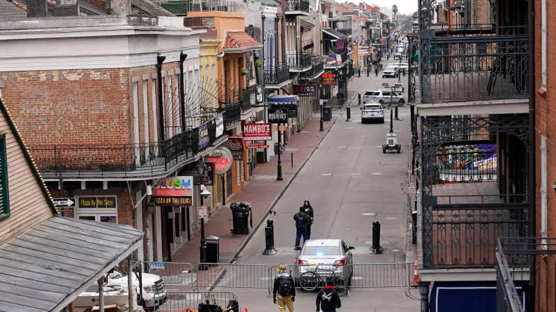Bourbon Street was mostly empty on Mardi Gras Day on February 16, 2021.