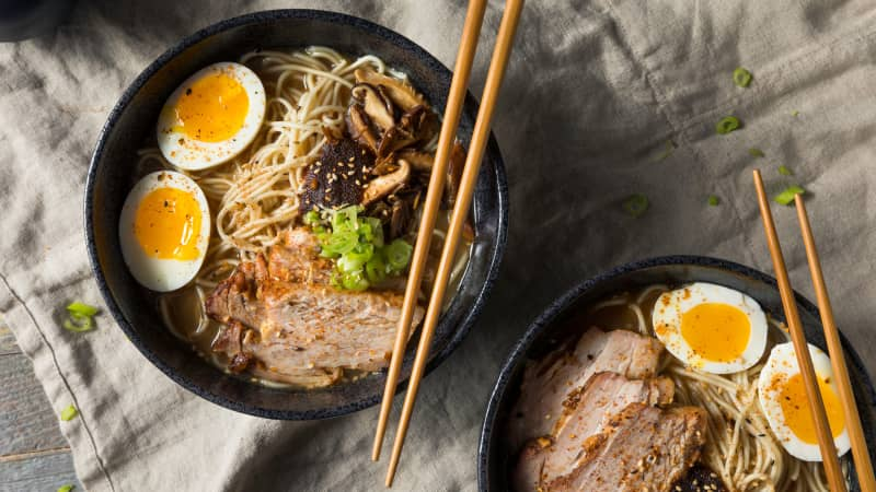 This classic ramen soup is flavored with pork bones.