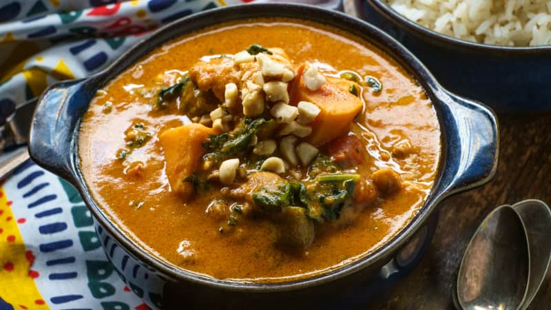 Sweet potatoes and okra are stars in this particular version of groundnut soup, popular throughout West Africa.