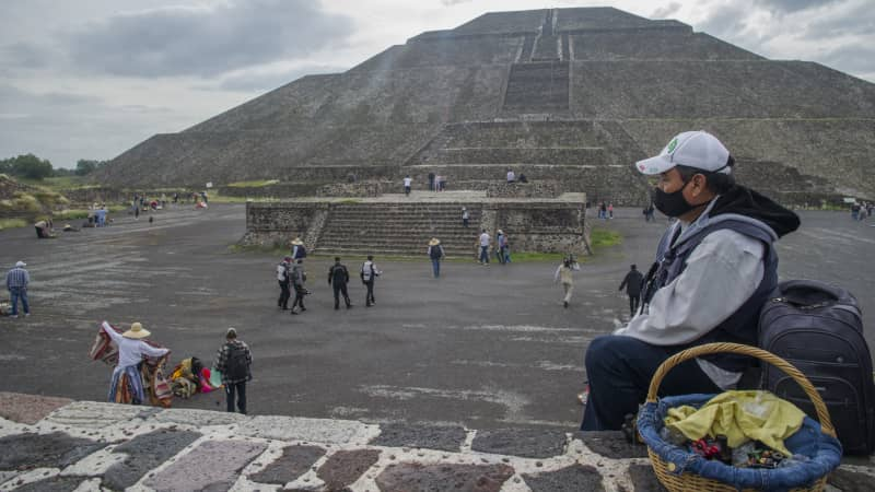 A vendor waits for tourists at Teotihuacan, one of Mexico's top tourist attractions, on September 10, 2020.