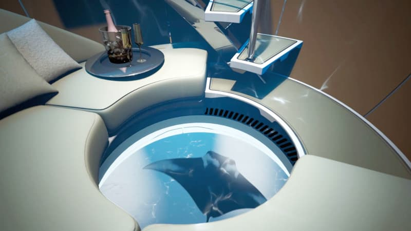 Hydrosphere concept, a 360-degree observation platform that deploys underwater from the hull of a vessel