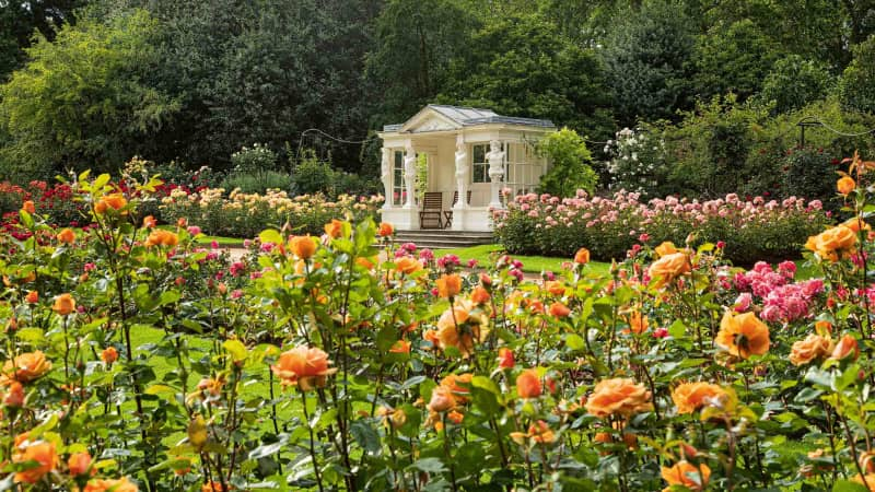 The Rose Garden and summer house can be seen as part of guided tours.