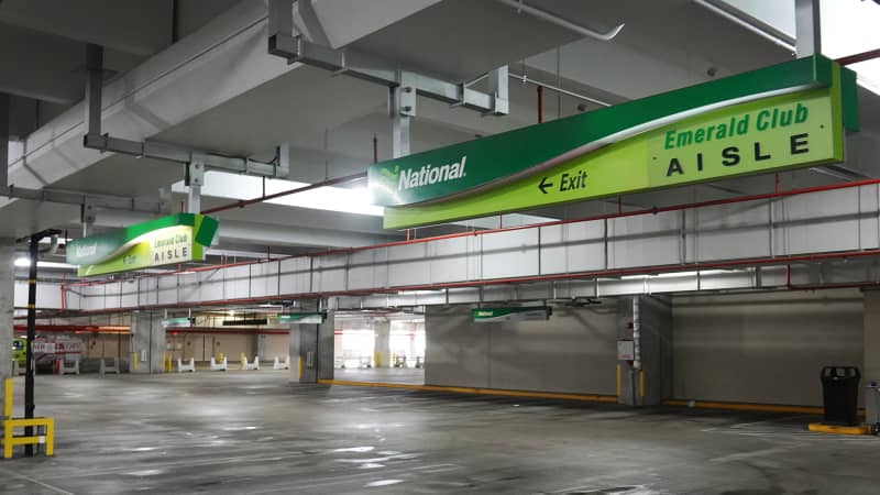 An empty lot at the National rental agency in the Miami International Airport Car Rental Center.