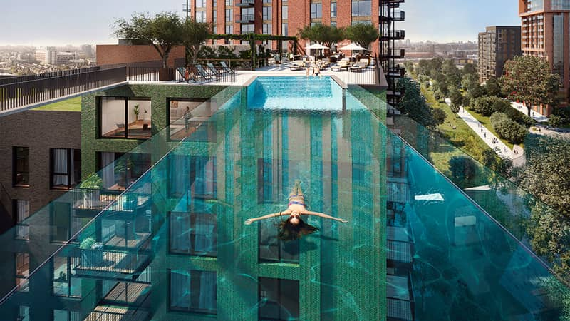On Wednesday 19 May 2021, the highly anticipated Sky Pool - the largest free-standing acrylic pool structure in the world -- will officially open at Embassy Gardens, the leading riverside neighbourhood in Nine Elms, London.