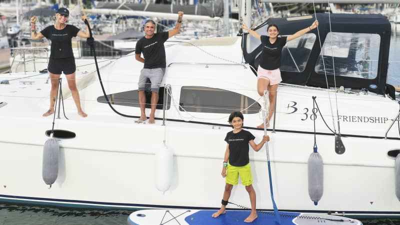 The Sueiro family has been learning to sail since they bought their boat in August.