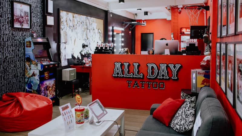 Bangkok's All Day Tattoo is a popular destination for tourists looking for some souvenir ink.