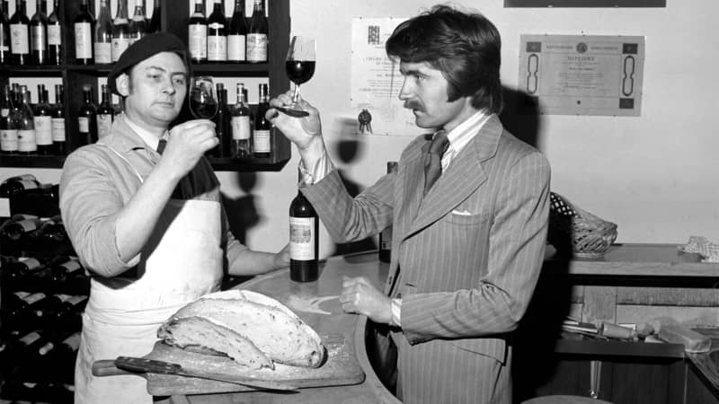 UK wine expert Steven Spurrier, right, came up with idea for a blind tasting contest.