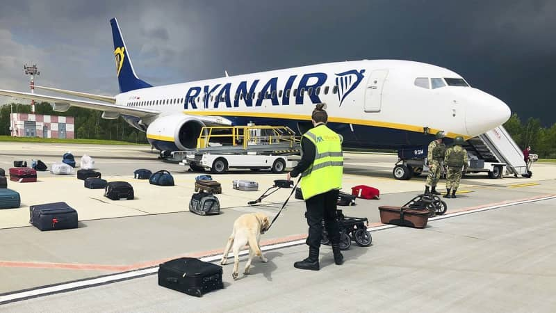 The Ryanair flight was traveling from Athens to Vilnius when it was forced to land in Belarus.