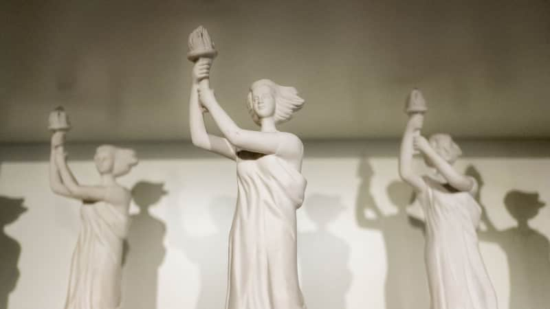 Statues of Goddess of Democracy seen exhibited at the museum.