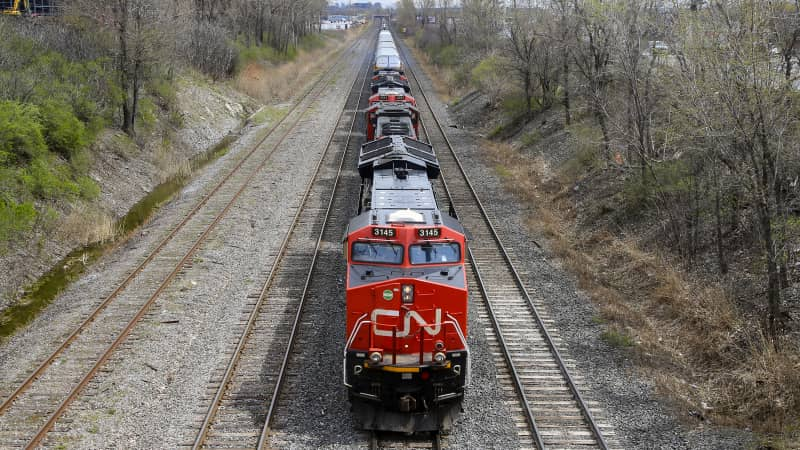 Via Rail passenger trains share tracks with freight operator Canadian National.