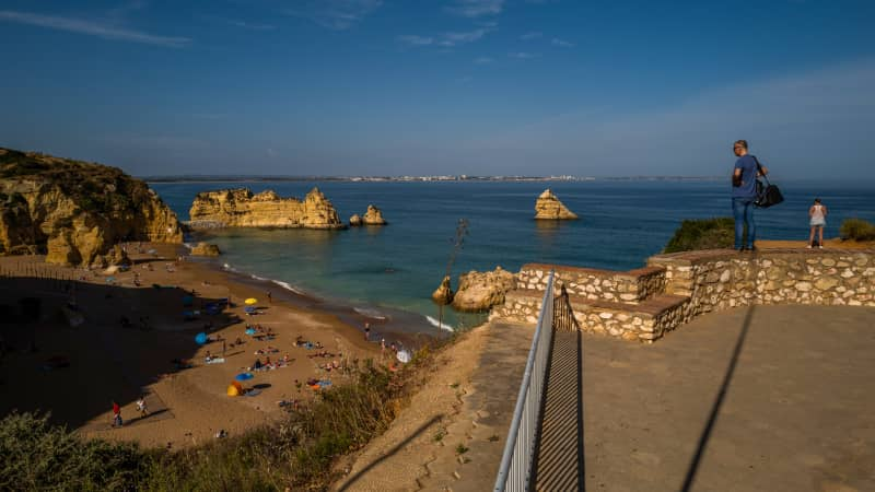 """Dona Ana beach in Lagos, Portugal, might look tempting but the CDC advice to US citizens is """"Do Not Travel."""""""