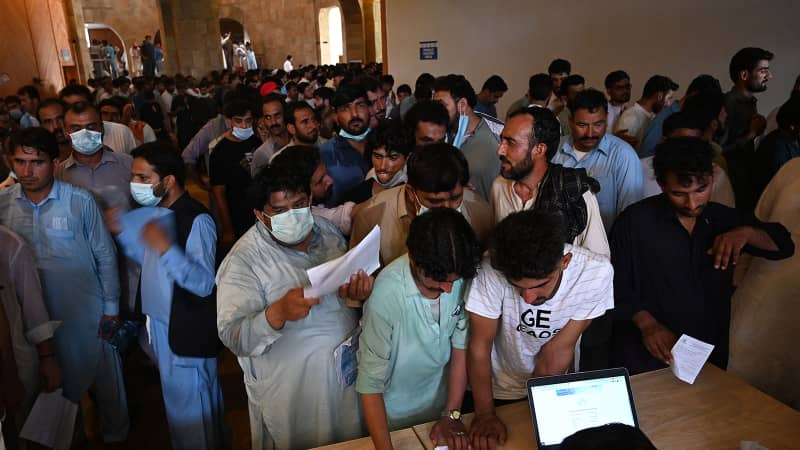 A vaccination center in Islamabad, Pakistan's capital, in June 2021.