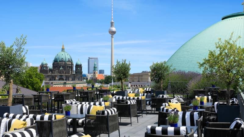 Hotel de Rome's Rooftop Terrace overlooks the Berlin skyline.