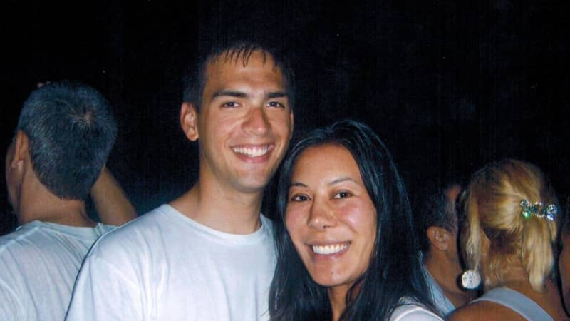 Carlson and Cheng celebrating New Year's Eve 2007 together on the beach in Rio de Janeiro, Brazil.