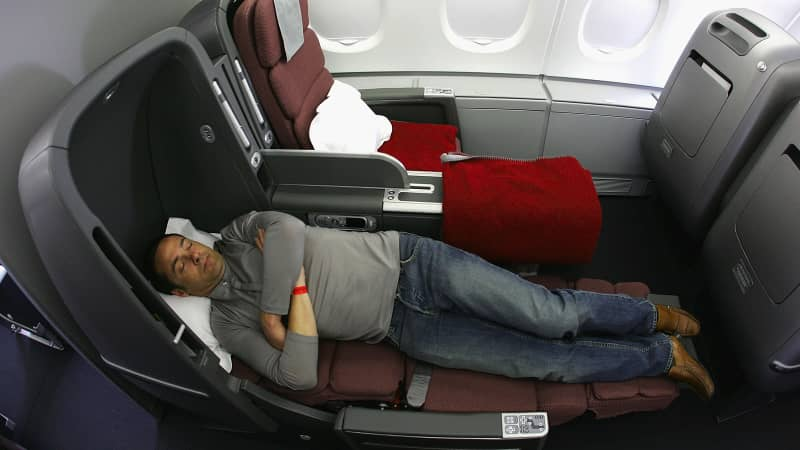 A Business Class seat pictured onboard the  Qantas A380 flagship, back when Qantas launched its superjumbos in 2008.