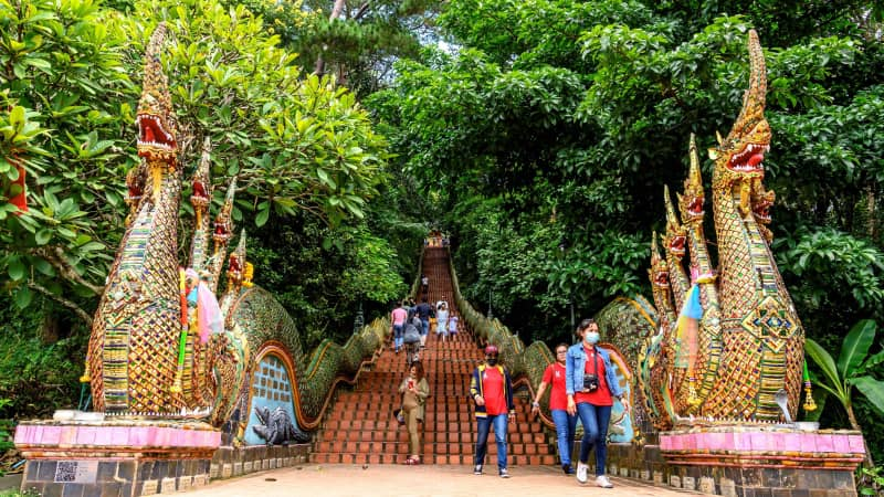 This photo was taken at the entrance to Chiang Mai's Doi Suthep temple in November 2020. The popular destination is normally packed with tourists.