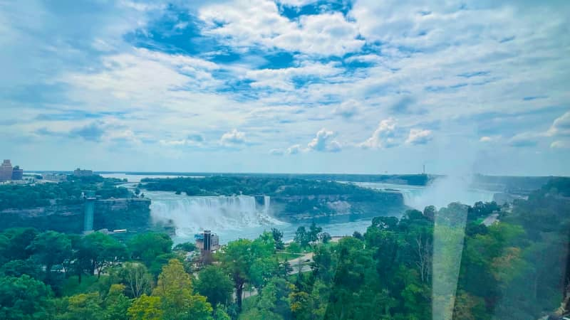 The view of Niagara Falls from the 175-foot-tall SkyWheel on the Canadian side.