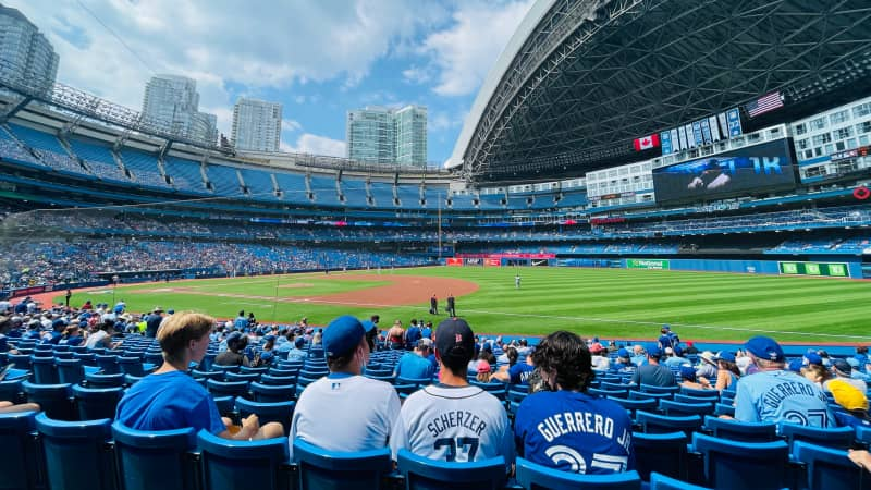 Watching the Blue Jays play the Tigers from the physically distanced section at the Rogers Center.