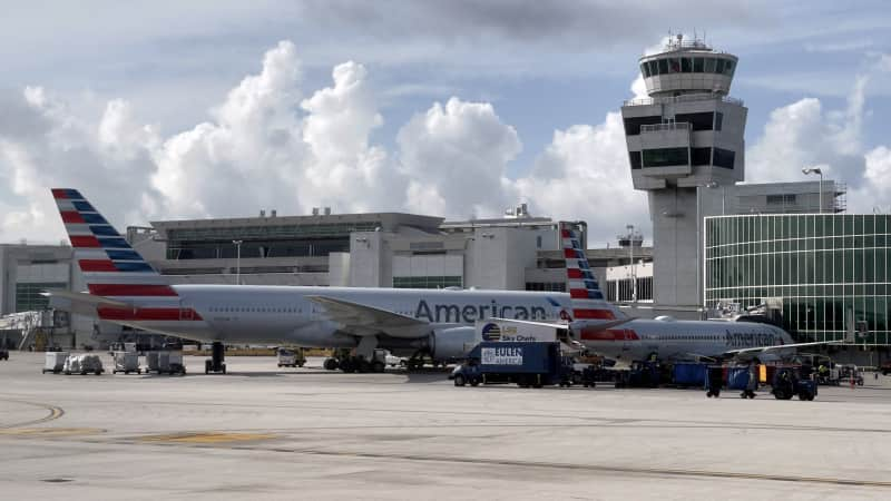 There seems to be a rise in unruly passengers on board US airplanes. Pictured here: airplanes at Miami International Airport in August 2021.