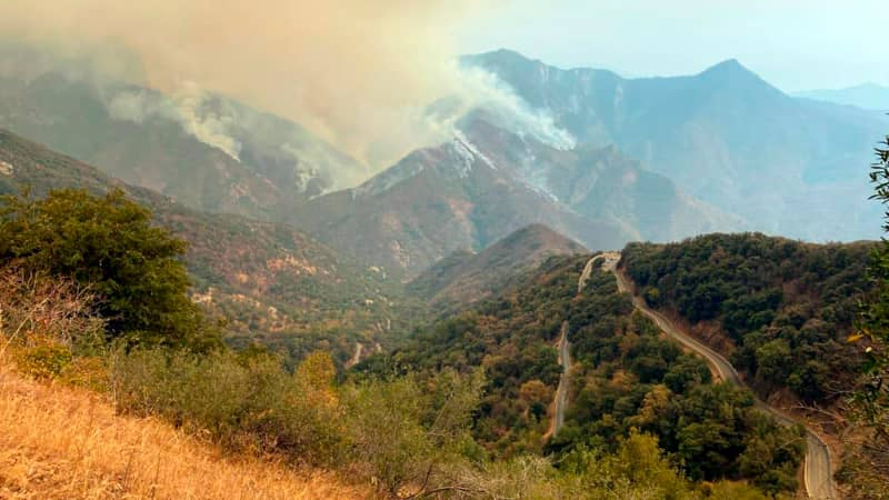 In this Sunday, September 12 photo released by the KNP Complex Fire Incident Command, smoke plumes rise from the Paradise Fire in Sequoia National Park, California.