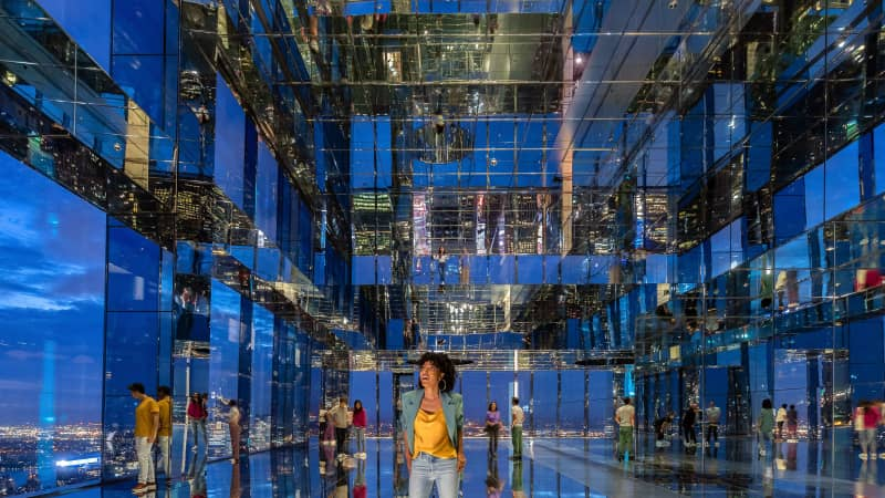 """The """"world's most immersive observatory experience,"""" features an art installation with a mirrored room."""
