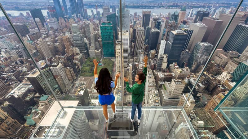 The attractions on offer include a glass elevator ride that travels 1,200 feet up the outside of the building.