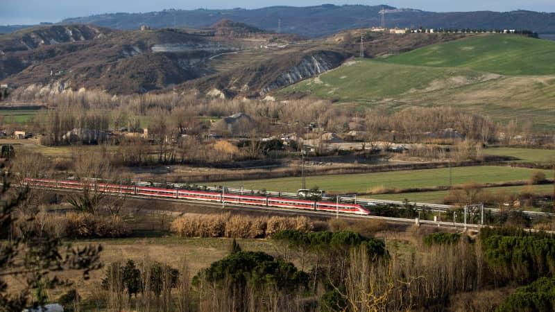 Trenitalia's Frecce trains blast through the countryside at 224mph.