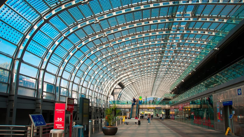 Italy's high-speed stations, like Porta Susa in Turin, are destinations in themselves.