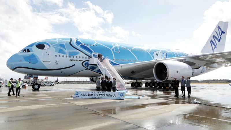 All Nippon Airways' A380s are emblazoned in bright colors to resemble Hawaiian sea turtles