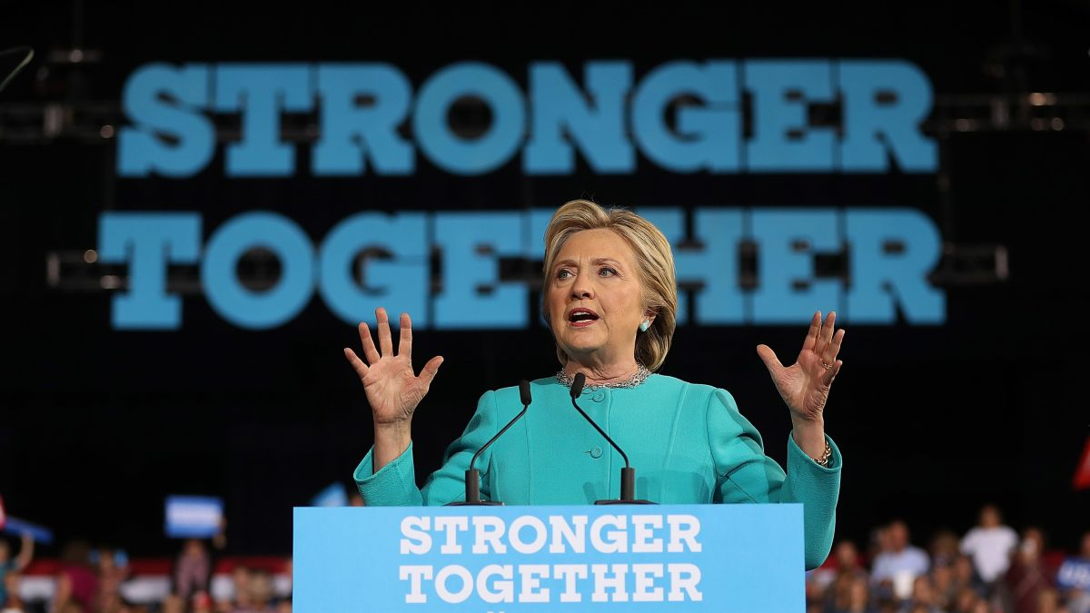 Clinton accuses Trump of copying 2016 slogan 'Stronger Together