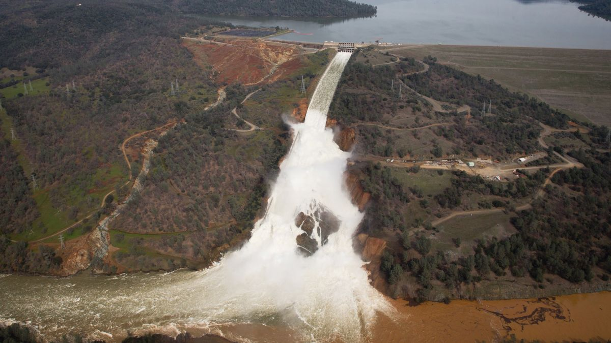 Oroville Dam spillway is facing its first big test since it