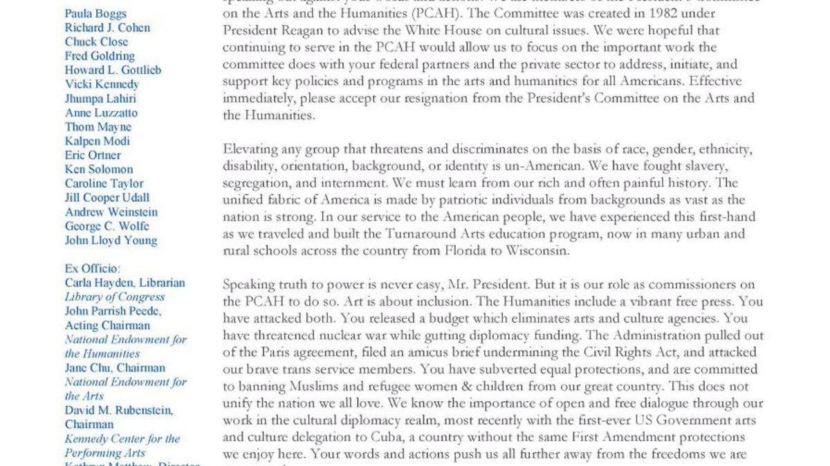 Thereu0027s A Hidden Message In The WH Arts Committeeu0027s Letter   CNN