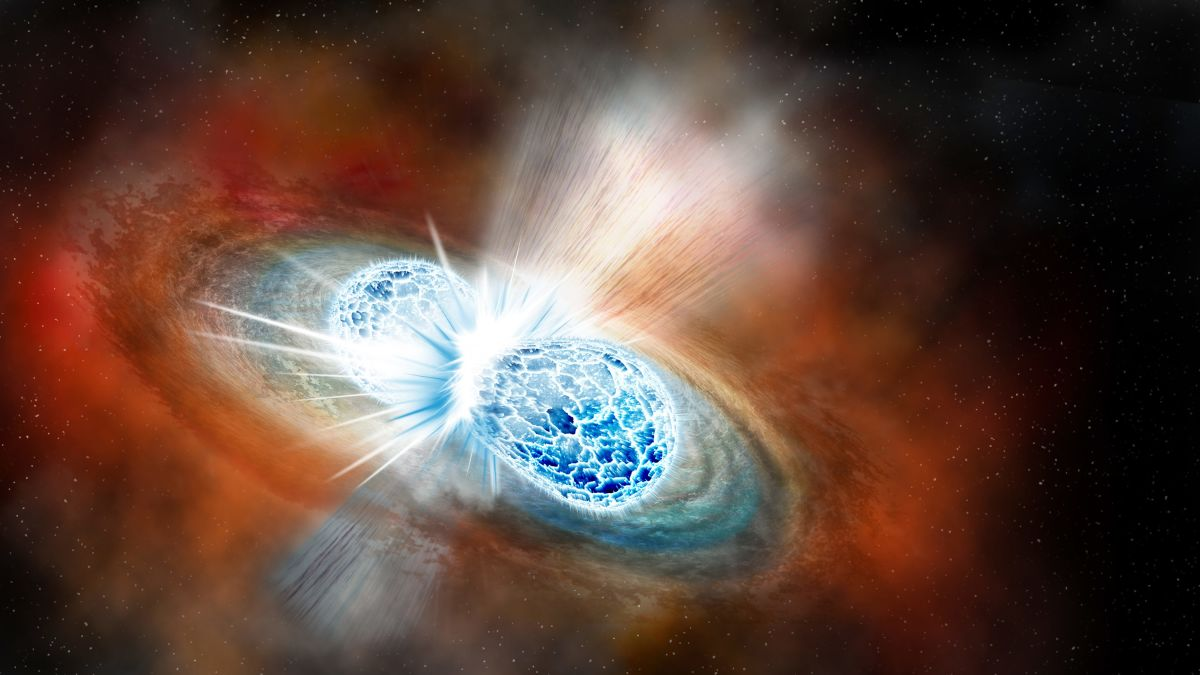 First-seen neutron star collision creates light