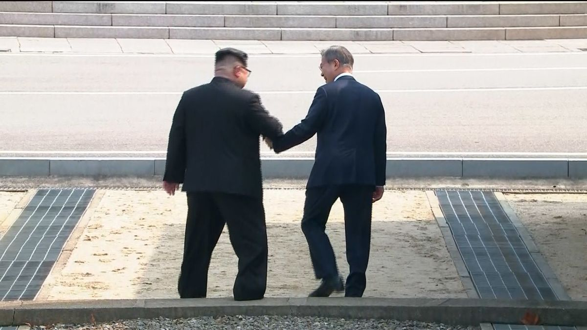 The moment Kim Jong Un crossed to the South