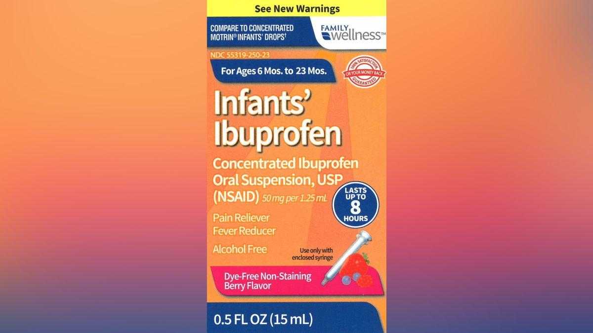 Infant ibuprofen sold at CVS, Walmart and Family Dollar