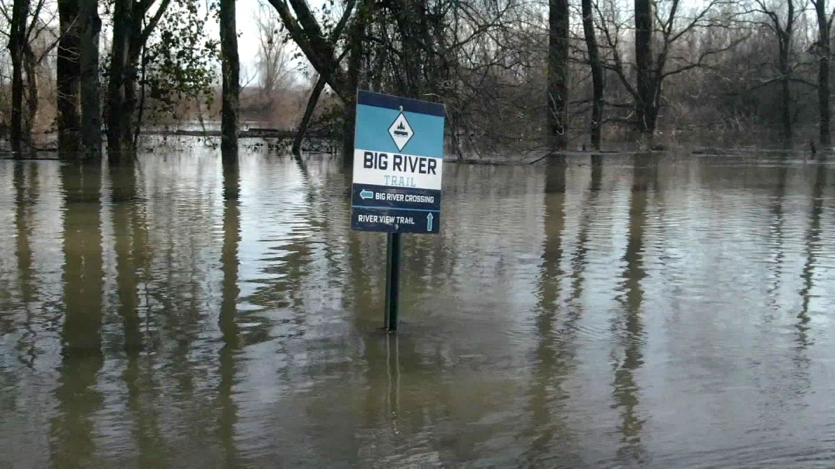 Areas around the lower Mississippi River are flooding, and