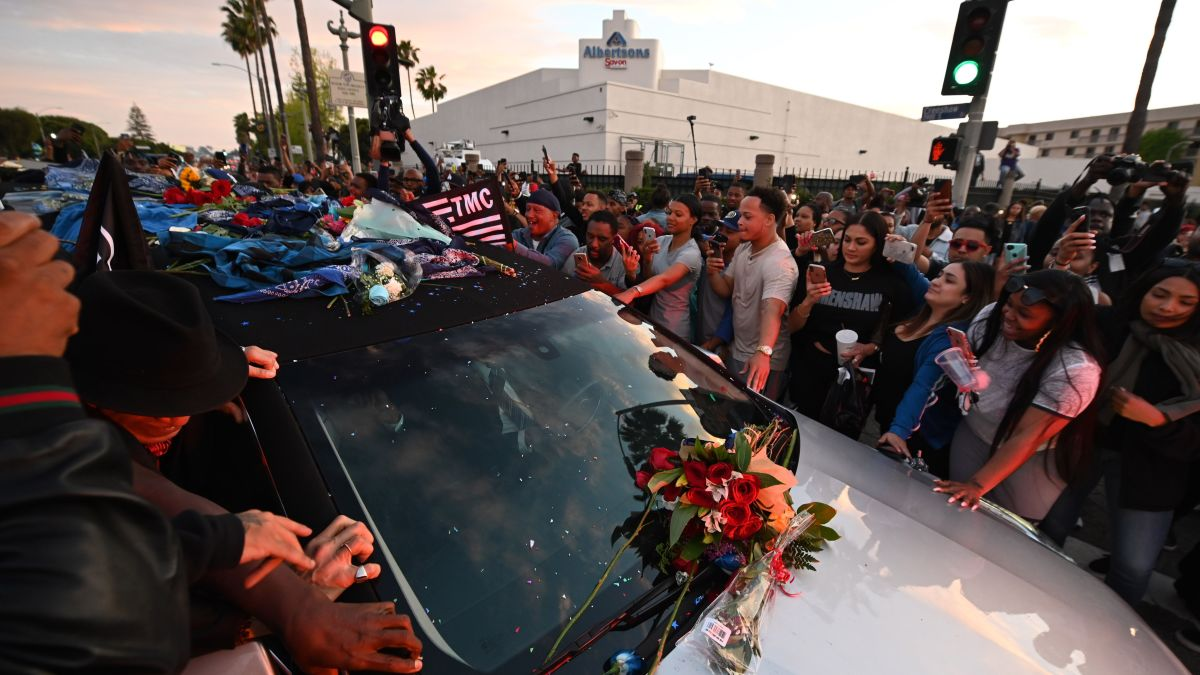Nipsey Hussell procession: Dance-offs and tears as rapper