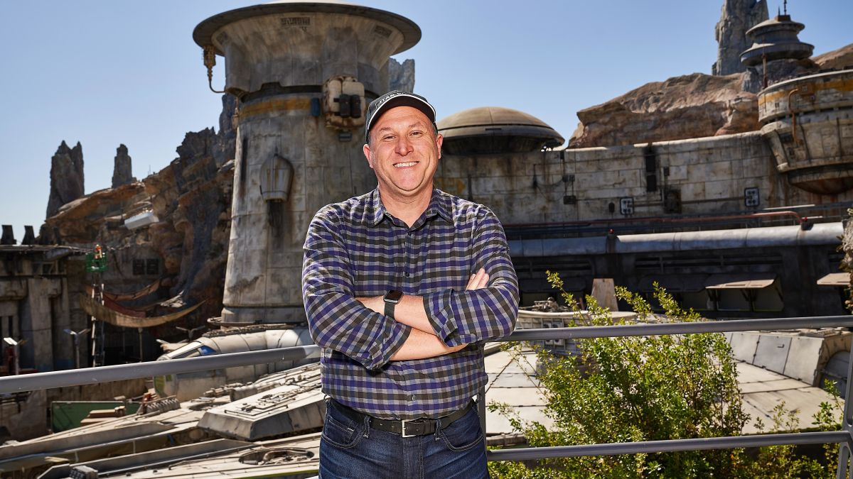 Scott Trowbridge in front of Star Wars Galaxy's Edge