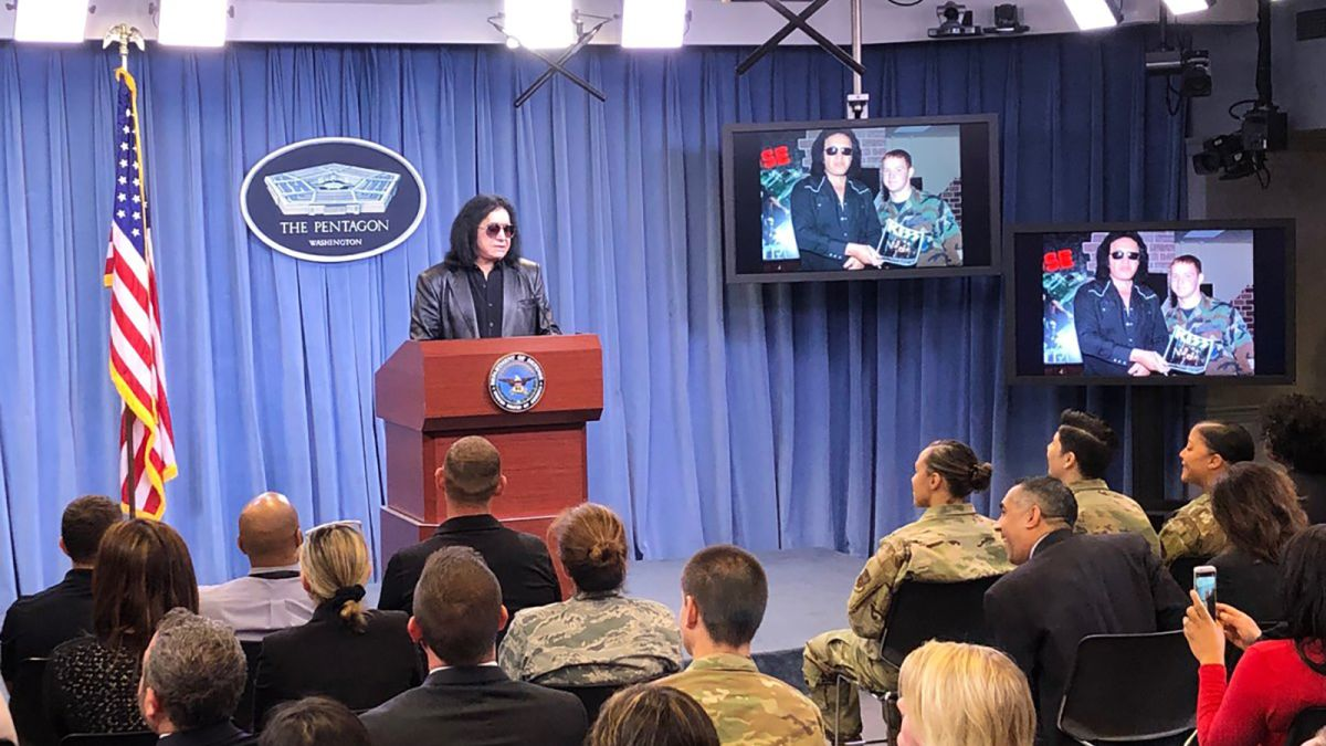 KISS frontman Gene Simmons delivers briefing at Pentagon podium that has not seen a spokesperson in almost a year