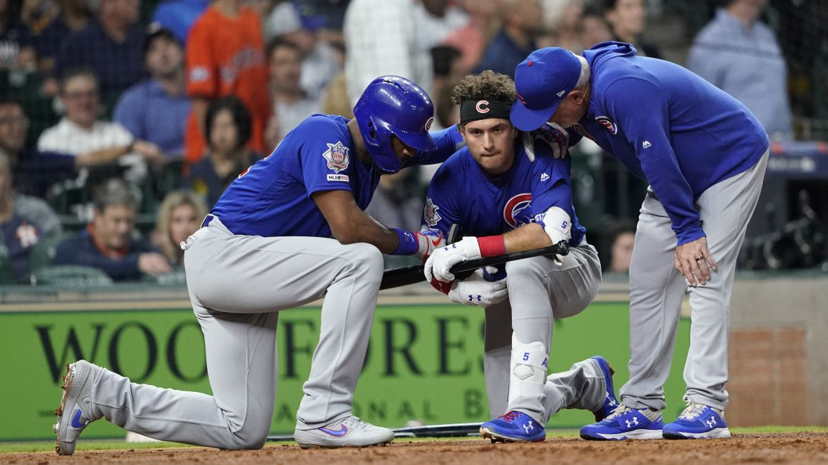 A foul ball hit by Chicago Cubs' Albert Almora Jr  injures a
