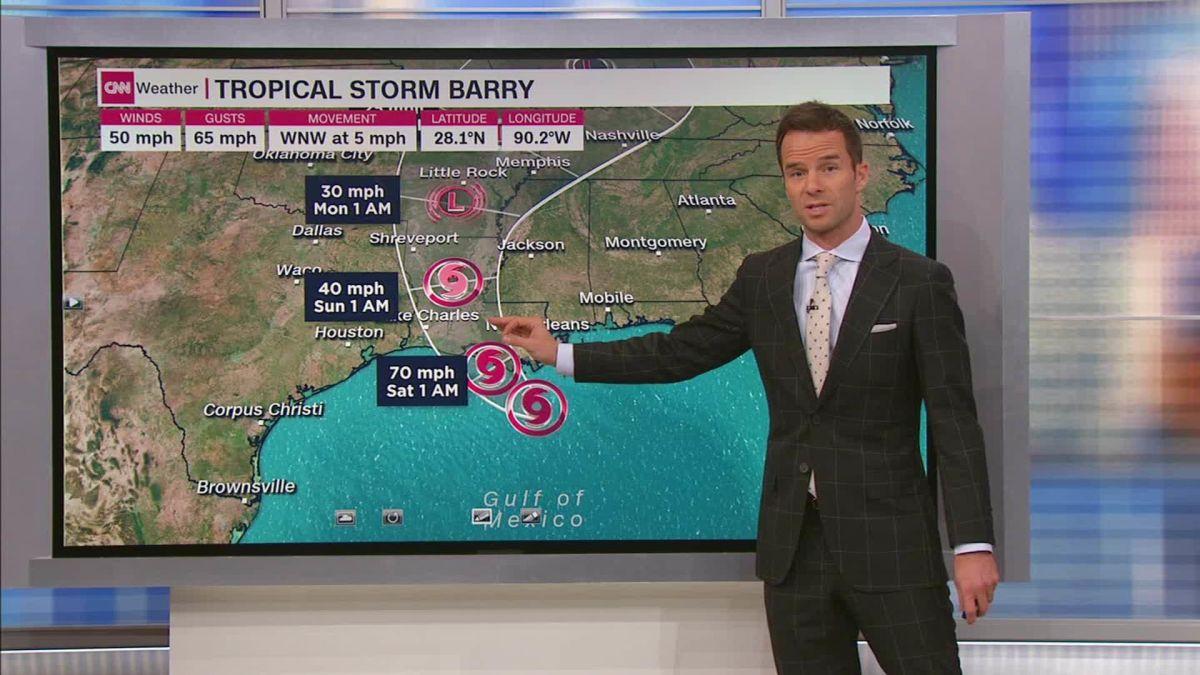 Barry slightly strengthens as it crawls toward Louisiana