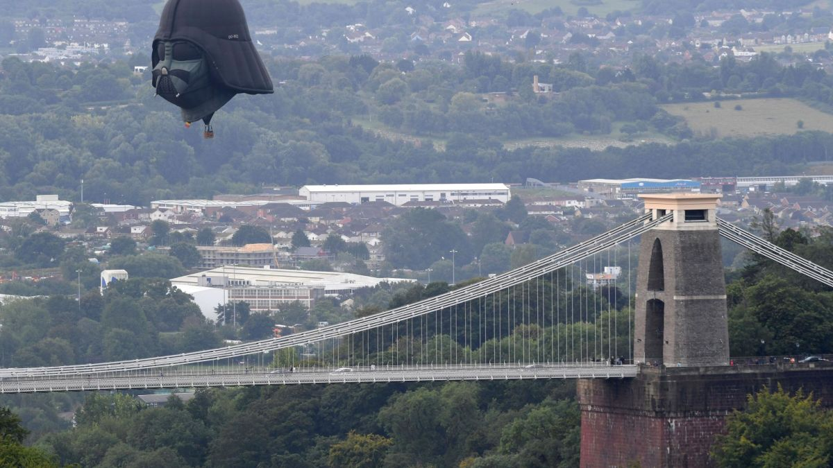A Darth Vader hot air balloon has floated over the English